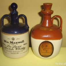 Botellas antiguas: DOS CANECOS WHISKY WM.MAXWELL Y OLD PARR. (VACIOS). DECANTADORES. BOTELLAS.. Lote 155159306