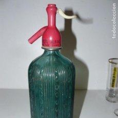 Botellas antiguas: SIFON DE COLOR VERDE - LA MORENSE - JUAN SOLE - MORA DE EBRO -. Lote 161715250