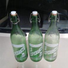 Botellas antiguas: LOTE 3 BOTELLAS ESPUMOSOS LA ESPERANZA. Lote 163604738