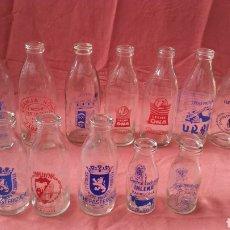 Botellas antiguas: BOTELLA LECHE BOCA ANCHA - COLECCIÓN DE 12 DIFERENTES. Lote 165512837