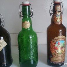 Botellas antiguas: TRES BOTELLAS DE CERVEZA,AÑOS 80/90. Lote 169150240