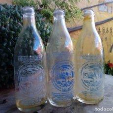 Botellas antiguas: LOTE 3 ANTIGUA BOTELLA SERIGRAFIA MEDIO LITRO AGUA GASEOSA BERRAZALES AGAETE CANARIAS COLORES VARIAS. Lote 169312658