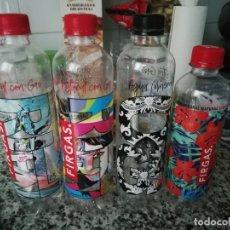 Botellas antiguas: LOTE 4 BOTELLAS AGUA GAS GASEOSA FIRGAS TAPON ROSCA PLASTICO DISEÑO VARIADOS COLECCION.. Lote 173812819