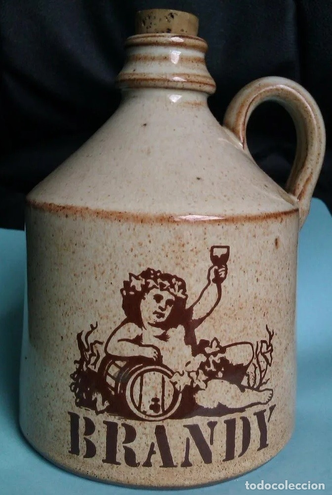 Botellas antiguas: BONITA BOTELLA DE BRANDY DE TERRACOTA O CERAMICA CON UN PRECIOSO DIBUJO - Foto 2 - 177701788