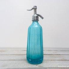 Botellas antiguas: ANTIGUO SIFON COLOR AZUL TURQUESA CON CABEZA DE ESTAÑO BOTELLA VIDRIO FRANCÉS CON TAPON METALICO. Lote 179094448