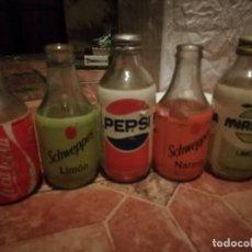 Botellas antiguas: LOTE 5 ANTIGUA BOTELLAS REFRESCO GASEOSA COCA COLA PEPSI SCHWEPPES MIRINDA NO RETORNABLE. Lote 180249747