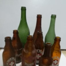 Botellas antiguas: LOTE DE 9 BOTELLAS DE CERVEZAS VACIAS. VER FOTOS. LEER DESCRIPCION. Lote 183784002