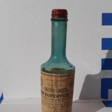 Botellas antiguas: FRASCO DE FARMACIA ELIXIR EUPEPTICO TISY LAB. MIRABEN // SIN DESPRECINTAR AÑOS 20 UNA PIEZA DE MUSEO. Lote 192751306
