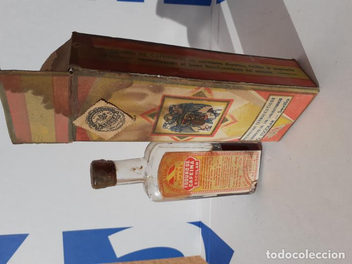 Botellas antiguas: FRASCO DE FARMACIA YODURO DE CAFEINA ESCOLAR // AÑOS 20 - Foto 2 - 192754717