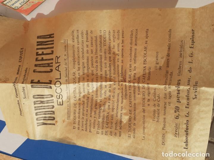 Botellas antiguas: FRASCO DE FARMACIA YODURO DE CAFEINA ESCOLAR // AÑOS 20 - Foto 3 - 192754717