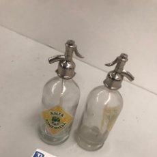 Botellas antiguas: MINI BOTELLAS SIFÓN PUBLICIDAD. Lote 194161225