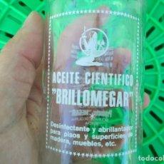 Botellas antiguas: ANTIGUA BOTELLA DE CRISTAL BRILLOMEGAR MURCIA MEGAR ACEITE CIENTIFICO PARA MUEBLE ARTE MOLINA FRASCO. Lote 195061750
