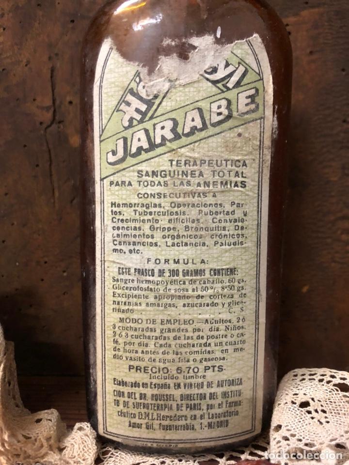 Botellas antiguas: BOTELLA ANTIGUA DE CRISTAL HÉMOSTYL JARABE para la anemia .Años 40. - Foto 2 - 195337336