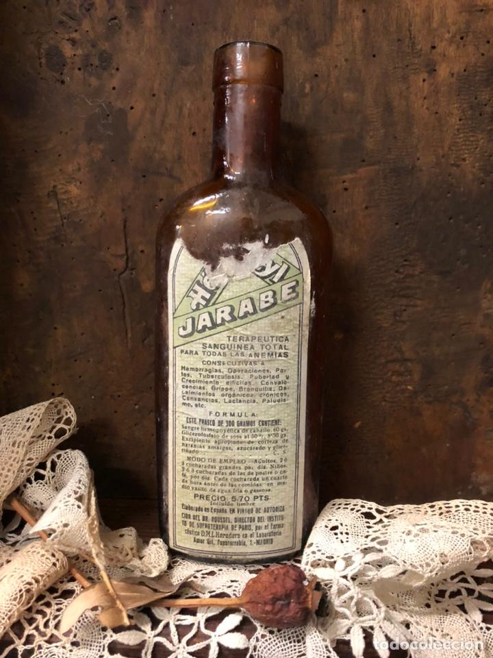 BOTELLA ANTIGUA DE CRISTAL HÉMOSTYL JARABE PARA LA ANEMIA .AÑOS 40. (Coleccionismo - Botellas y Bebidas - Botellas Antiguas)