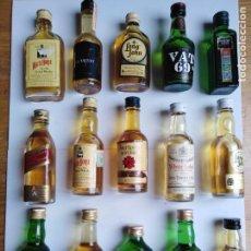 Botellas antiguas: LOTE 15 BOTELLAS MINIATURA WHISKY. Lote 198139070