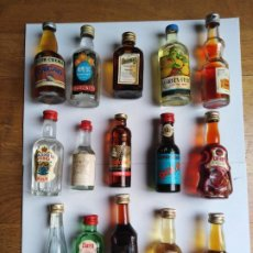 Botellas antiguas: LOTE 15 BOTELLAS MINIATURA VARIADAS. Lote 198146752