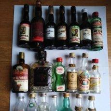 Botellas antiguas: LOTE DE 20 BOTELLAS MINIATURA VACIAS. Lote 198159305