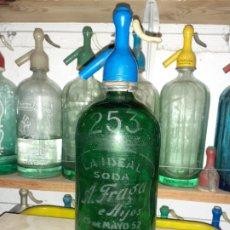 Botellas antiguas: SIFÓN ARGENTINO A. FRAGA E HIJOS LA IDEAL AVELLANEDA ARGENTINA. Lote 199759812