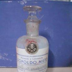 Botellas antiguas: FRASCO DE FARMACIA SULFURO DE MERCURIO VENENO. Lote 199985251