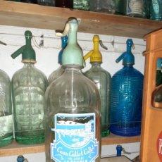 Botellas antiguas: SIFÓN CALLOL CALLOL DE LA ESCALA GERONA GIRONA // CON CABEZA DE PLOMO. Lote 201153447