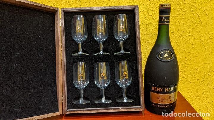 COGNAC REMY MARTIN MAGNUM 1,5 LITROS Y CAJA MADERA CON 6 COPAS REMY MARTIN-AÑO 1980 (Coleccionismo - Botellas y Bebidas - Botellas Antiguas)