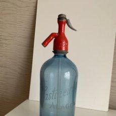 Botellas antiguas: SIFÓN CABEZA PLOMO. AZUL. J.CASTIÑEIRAS. ALAGON.. Lote 202733538