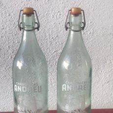 Botellas antiguas: 2 BOTELLAS CARBONICAS ANDREU VILARRODONA - VILA-RODONA TARRAGONA. GRABADA AL ACIDO. Lote 203320208