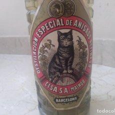 Botellas antiguas: ANTIGUA BOTELLA SIN ABRIR ANIS (EL DEL GATO) CISA DEL MASNOU BARCELONA. Lote 205289343
