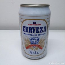 Botellas antiguas: LATA CERVEZA CONTINENTE MERCADO DE ESPAÑA BEER BIRRA CAN. Lote 207244495