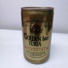 Botellas antiguas: LATA CERVEZA TURIA VALENCIA GOLDEN ESPAÑA BEER BIRRA CAN. Lote 207244781