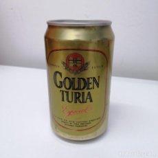 Botellas antiguas: LATA CERVEZA TURIA VALENCIA GOLDEN ESPAÑA BEER BIRRA CAN. Lote 207244833