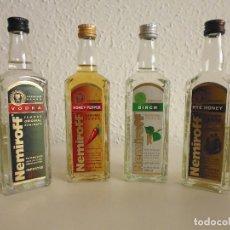 Botellas antiguas: NEMIROFF - 4 BOTELLAS 100ML. VODKA UCRANIA - 3 ENTERAS + 1 EMPEZADA. Lote 209775357