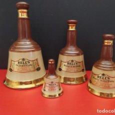 Botellas antiguas: LOTE DE 4 ANTIGUAS BOTELLAS FORMA DE CAMPANA DE WHISKY BELLS BELL'S COLECCIÓN COMPLETA. Lote 211604887