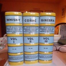 Botellas antiguas: CONJUNTO 3 BOTELLAS LIBRO CERAMICA GUILLEN. VOLUMEN I,II Y III QUIJOTE. Lote 211661800