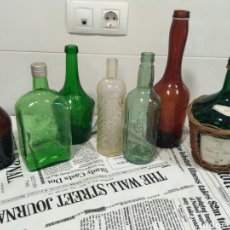 Botellas antiguas: ESPECTACULAR LOTE DE 7 BOTELLAS ANTIGUAS. Lote 221241335