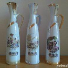 Botellas antiguas: COLECCION DE 3 BOTELLAS PORCELANA DE LICOR DE CREMA ''DOÑA BEATRIZ'' CON ESTAMPADO GOYA PRECINTADO. Lote 224719643