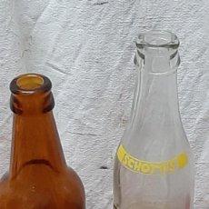 Botellas antiguas: LOTE 2 BOTELLAS EL LEON SIN MARCA Y TONICA SCHOTTIS. Lote 224799040