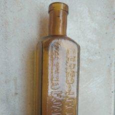 Botellas antiguas: ANTIGUA BOTELLA DE FARMACIA CEREO LECITINA - E. JARQUE - VALENCIA - LETRAS EN RELIEVE -. Lote 227728625