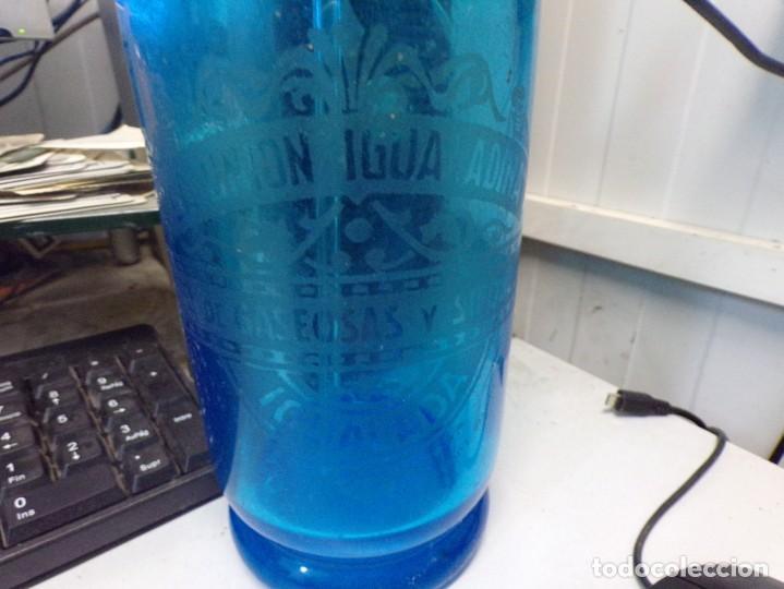 Botellas antiguas: sifon antiguo la union igualadina azul cobalto - Foto 9 - 243794095