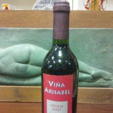 Bottigglie antiche: BOTELLA VIÑA ARISABEL. JOVEN 2001. DO RIOJA. MEDIDAS DIÁMETRO 7 CM ALTO 29 CM.. Lote 244587755