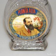 Botellas antiguas: BONITA Y ANTIGUA BOTELLA DE CRISTAL DE PURGANTE IDEAL - EL MEJOR PARA LA SALUD - PLANTA ALFA.. Lote 246207895