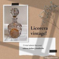 Garrafas antigas: LICORERA CRISTAL TALLADO BACCARAT DE DOS COLORES ÁMBAR Y TRASLÚCIDO. Lote 267278754