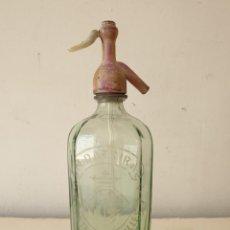 Botellas antiguas: SIFÓN CON TAPÓN PLOMO M. DATSIRA DE CASTELLAR DEL VALLES. Lote 277630888