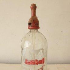Botellas antiguas: SIFÓN MONTSERRAT CON TAPÓN PLOMO MONSERRATINA, BORJAS BLANCAS. Lote 277631848