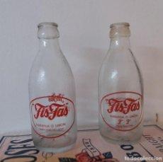 Botellas antiguas: LOTE DE 2. ANTIGUA BOTELLA DE REFRESCO FIS FAS. NARANJA O LIMÓN. DOS MODELOS DIFERENTES. SERIGRAFÍA.. Lote 279361773