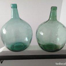 Botellas antiguas: 2 ANTIGUAS GARRAFAS BOTELLAS DAMAJUANA VIRESA Y LEVANTE DE 16 LITROS ARROBA LÁMPARA JARRÓN VINO AGUA. Lote 282059918