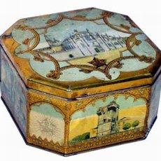 Cajas y cajitas metálicas: ANTIGUA CAJA DE HOJALATA LITOGRAFIADA OCTOGONAL 1929. Lote 24928378