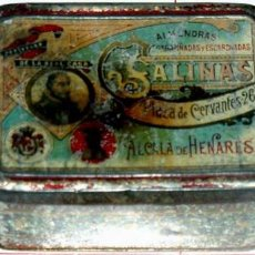 Cajas y cajitas metálicas: ANTIGUA CAJA DE HOJALATA LITOGRAFIADA CON PUBLICIDAD . Lote 25730707