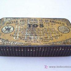 Cajas y cajitas metálicas: CAJITA METALICA PASTA PECTORAL DEL DR. ANDREU CONTRA TODA CLASE DE TOS, BARCELONA (5X10CM APROX). Lote 24972300