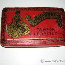 Cajas y cajitas metálicas: CAJA METALICA MUY ANTIGUA, TANPON PERPETUO. Lote 26130611
